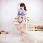 Women's Fashionable Sexy One Piece Style Lace Sleep Dress - Blue