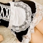 Women's Fashionable Sexy Maid Style Net Yarn Sleep Dress - Black + White
