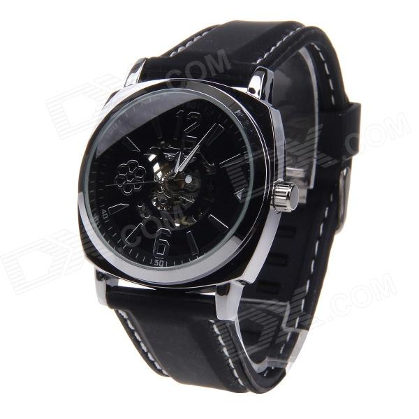 WINNER Men's Automatic Mechanical Analog Stainless Steel Case Silicone Strap Wrist Watch