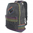 Chinese Ethnic Style Canvas Backpack - Dark Grey