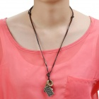 Punk Style Fashion Camera Split Leather Chain Necklace - Brown + Bronze