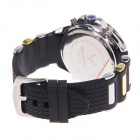BESNEW BN-0798 Multifunctional Men's Sports Electronic + Quartz Rubber Wrist Watch - Black + Yellow