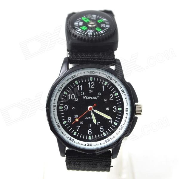 W-2 Men's Sports Outdoor Cloth Belt Analog Quartz Wrist Watch w/ Compass - Black (1 x LR626)