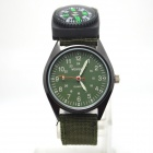 W-3 Men's Sports Outdoor Cloth Belt Analog Quartz Wrist Watch w/ Compass - Army Green (1 x LR626)
