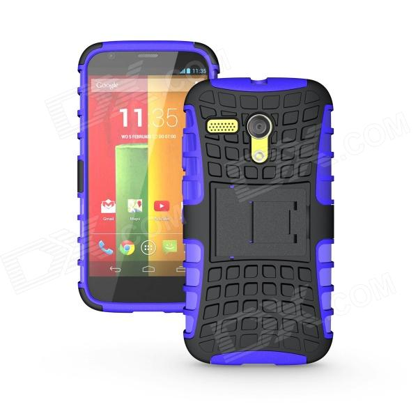 Protective TPU + PC Case w/ Stand for Motorola Moto G Phone - Purple + Black чехол deppa art case и защитная пленка для samsung galaxy s6 edge танки бог войны