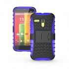 Protective TPU + PC Case w/ Stand for Motorola Moto G Phone - Purple + Black
