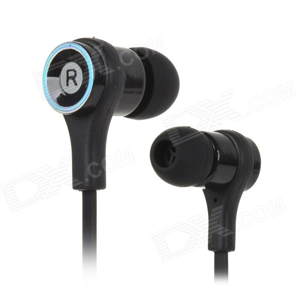 Fashionable 2-CH In-Ear Music Earphone w/ 3.5mm - Black + Silver