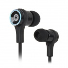 Fashionable 2-CH In-Ear Music Earphone w/ 3.5mm - Black + Silver (115cm-Cable)