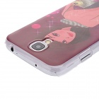 Kinston Girl in Backless Dress Pattern Hard Case for Samsung Galaxy S4 i9500 - Dark Pink + Red