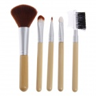 Fali H9 Professional Makeup Cosmetic Bamboo Handle Brush 5-Piece Set - Wood