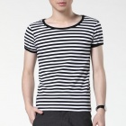 FENL Men's Slim Stripe Pattern Round Neck Short Sleeve T-Shirt Tee - Black + White (Size S)