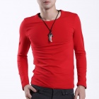FENL Men's Slim Round Neck Long Sleeve Cotton T-Shirt Tee - Red (Size L)