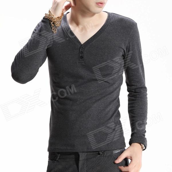 цены  FENL Men's Slim Round Neck Long Sleeve Cotton T-Shirt Tee - Dark Grey (Size S)