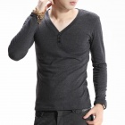 FENL Men's Slim Round Neck Long Sleeve Cotton T-Shirt Tee - Dark Grey (Size S)