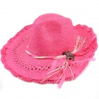 Lafite Straw Braided Hat Cap for Women - Deep Pink