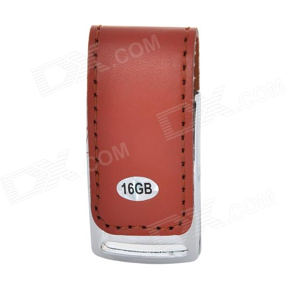 Folding High Speed ​​PU nahka + Sinkki metalliseos USB 3.0 Flash Drive - Brown (16GB)