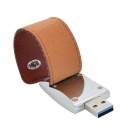 Folding høyhastighets PU skinn + sink legering USB glimtet 3.0 kjøre - Brown (16GB)