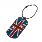 Fashion UK National Flag Pattern Double Card Pendant Necklace - Blue + Red