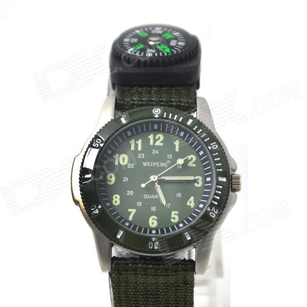 WEIPENG Men's Sports Outdoor Cloth Belt Analog Quartz Watch w/ Compass - Camouflage Green