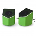 EN-015 Portable 2.0 Channel USB 3.5mm Wired Stereo Desktop Speakers Set for PC / Laptop - Green