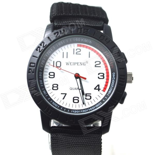 WEIPENG Men's Sports Outdoor Cloth Belt Analog Quartz Wrist Watch - Black (1 x LR626)