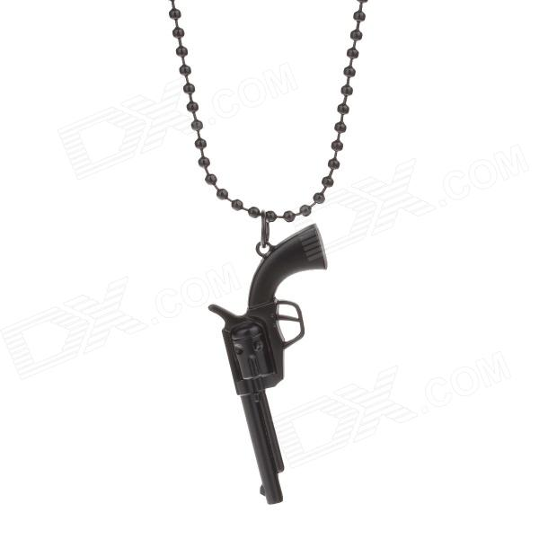 Fashion Gun Shape Pendant Necklace - Black