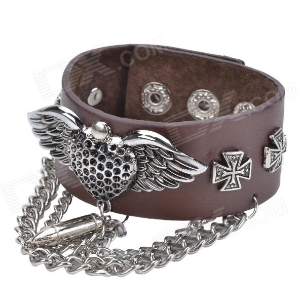 Cool Punk Style Split Leather + Zinc Alloy Bracelet - Brown + Silver fashion cupid ornament split leather bracelet coffee brown multi color