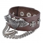 Cool Punk Style Split Leather + Zinc Alloy Bracelet - Brown + Silver