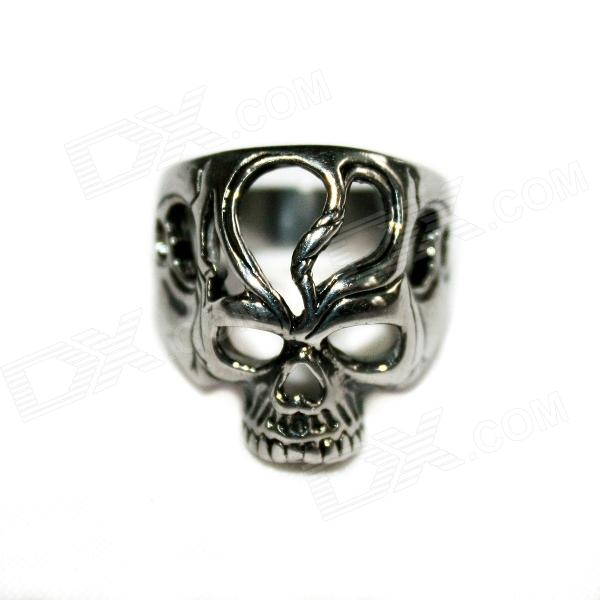 Skull Style Stainless Steel Finger Ring - Silver Black cool punk skull style stainless steel ring silver u s size 9