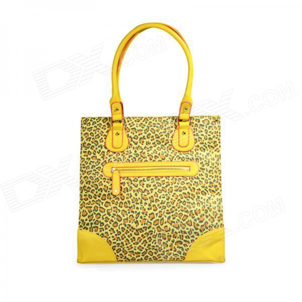 Catwalk88 Leopard Print Oversized PU Leather Hand Bag - Yellow