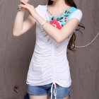 V-Collar Short-sleeved Chiffon Embroidered T-Shirt - White (Size XXL)