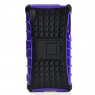 Protective TPU + PC Case w/ Holder for Sony Xperia Z2 - Black + Purple