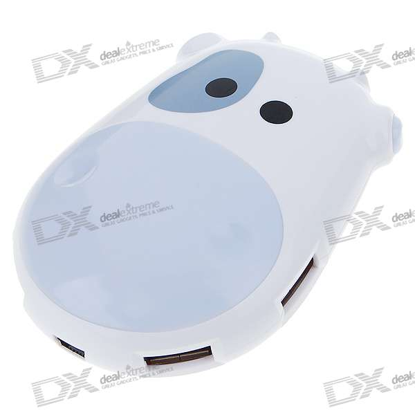 Cute Cow USB 2.0 4-Port Hub with RGB Light Flashing (White)