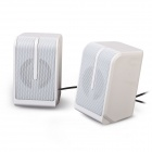 EN-011 Portable 2.0 Channel USB 3.5mm Wired Stereo Desktop Speakers Set for PC / Laptop - White