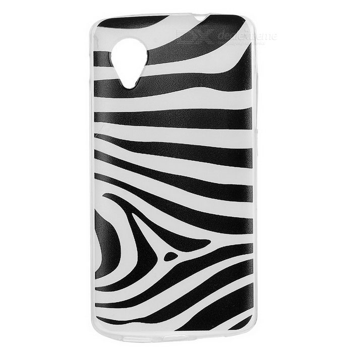 Kinston Zebra Pattern TPU Soft Case for Google LG Nexus 5 - White + Black kinston flowers