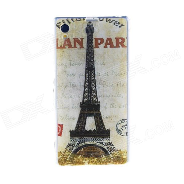 Kinston Eiffel Tower Pattern TPU Soft Case for Sony Xperia Z1 L39h - Grey + Black