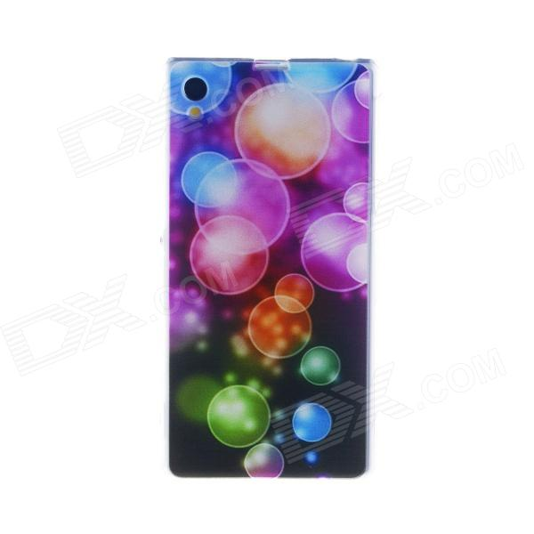 Kinston Colorful Bubble Pattern TPU Soft Case for Sony Xperia Z1 L39h - Pink + Red