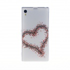 Kinston Large and Small Heart Pattern TPU Soft Case for Sony Xperia Z1 L39h - White + Red