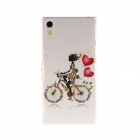 Kinston Bicycle Girl Pattern Plastic Hard Case for Sony Xperia Z2 - White + Red