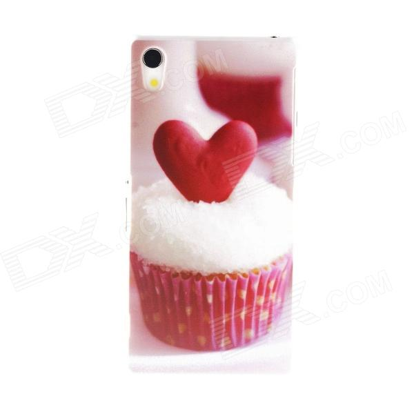 Kinston Heart Cakes Pattern Plastic Hard Case for Sony Xperia Z2 - White + Red kinston flowers