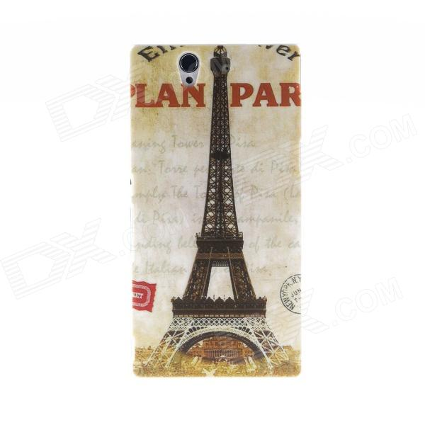 Kinston Eiffel Tower Pattern Plastic Hard Case for Sony L36h (Xperia Z) - Grey + Black