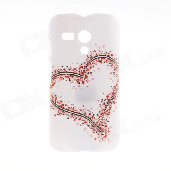 Kinston Big Heart Little Heart Pattern Plastic Hard Case for Motorala Moto G - White + Red crooked little heart