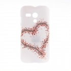 Kinston Big Heart Little Heart Pattern Plastic Hard Case for Motorala Moto G - White + Red