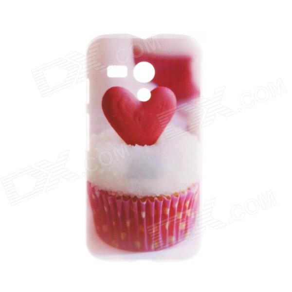 Kinston Heart Of The Cake patroon Plastic Hard Case voor Motorala Moto G - Wit + Rood