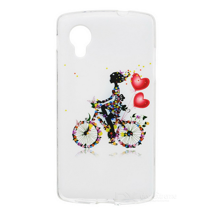 Kinston Bicycle Girl Pattern TPU Case for Google LG Nexus 5 - White + Black