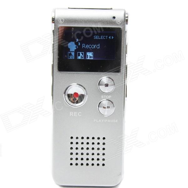 Portable 1 LCD Digital Voice Recorder w/ WMA / WAV / MP3 / USB / Telephone Recording - Silver (4GB) best battery brand mp3 mp4 free shipping 3 7v lithium battery 061530 601533 250mah mp4 mp5 voice recorder small toys gps 37v