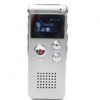 "Portable 1"" LCD Digital Voice Recorder w/ WMA / WAV / MP3 / USB / Telephone Recording - Silver (4GB)"