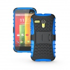 Protective TPU + PC Case Stand for Motorola Moto G Phone - Blue + Black