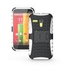 Protective TPU + PC Case w/ Stand for Motorola Moto G Phone - White + Black