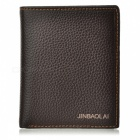 Stylish Folding Genuine Cowhide Leather Wallet for Men - Brown